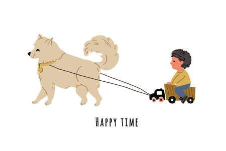 Cute vector illustration of a boy riding on truck with dog samoyed in front. Playful kids postcard in cartoon hand drawn style. Kids illustration, poster, card with lettering Ilustrace