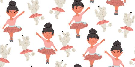 Seamless pattern with cute poodle dogs in cute ballet skirts dancing with girl ballerina with dark hair, on white. Vector cartoon ballet dance pattern. Kids design, posters, nursery decor, textile Reklamní fotografie - 143155154