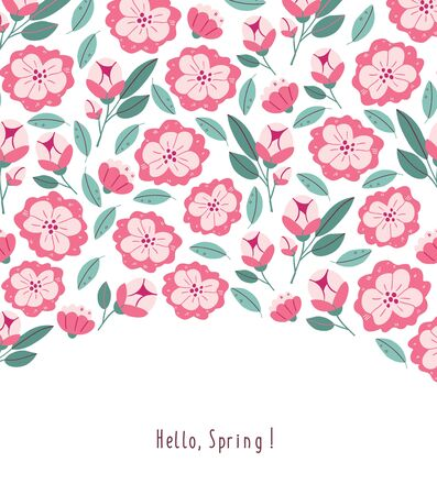 Postcard with spring flowers, herbs, leaves isolated on white background. Spring background in cartoon hand drawn style. Minimalistic flowers in bloom, lettering. Perfect for textile, fabric, postcard Ilustrace