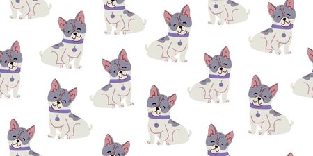 Vector seamless pattern with cute bulldog dogs on white. Nursery, textile, fabric design for kids, boys, girls. Scandinavian style textile. Dog, puppies illustrations. Reklamní fotografie - 143155159