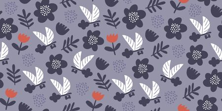 Vector seamless pattern with flying keys, spring flowers, wings and polka dots. Minimalistic romantic textile design Ilustrace