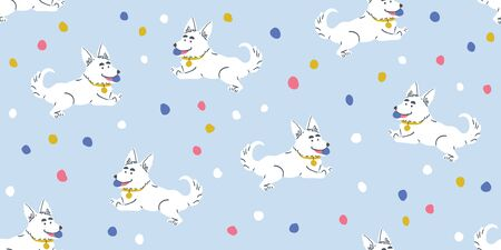 Vector seamless pattern with cute corgi dogs with ball and colorful dots on light blue. Nursery, textile, fabric design for kids, boys, girls. Scandinavian style textile. Dog, puppies illustrations.