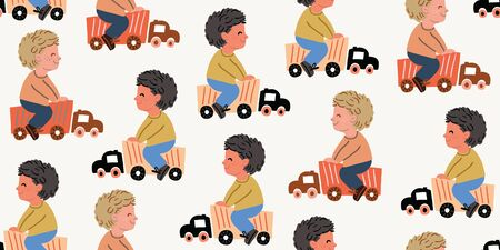 Vector seamless pattern with little boys riding toy cars. Boys playing with car trucks. Different ethnicities. Kids pattern with boys, nursery decor, textile. Toys car trucks on light background