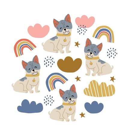 Circle illustration with cute bulldog dogs, rainbows, clouds, polka dots, stars on white. Nursery, textile, fabric design for kids, boys, girls. Scandinavian style textile. Dog, puppies illustrations.