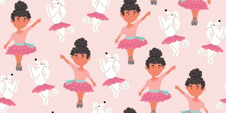 Seamless pattern with cute poodle dogs in cute ballet skirts dancing with girl ballerina with dark hair, on pink. Vector cartoon ballet dance pattern. Kids design, posters, nursery decor, textile