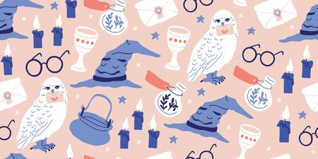 Vector seamless pattern with magician objects - witch hat, candles, goblet, potions bottles, eyeglasses, magic letter, stars on pink background. Halloween pattern. Perfect for kids textile, clothing Ilustrace