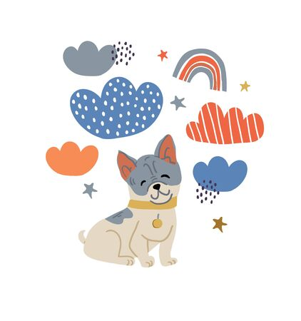 Circle illustration with cute bulldog dog, rainbows, clouds, polka dots, stars on white. Nursery, textile, fabric design for kids, boys, girls. Scandinavian style textile. Dog, puppy illustrations.