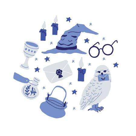 Circle illustration with pots, witch kettles, grails, poison bottles, owl, round glasses, magic letter, stars on white background. Square banner with school of magic elements -hand drawn cartoon style Reklamní fotografie - 142816564