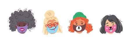 Set of people faces wearing cute breathing face masks. Cute stylish collection of breathing face masks with smiling faces. Modern covid concept illustration of people social isolation. coronavirus