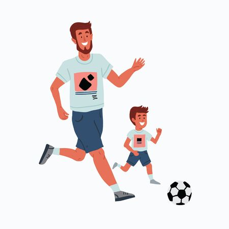 Vector illustration of father and son playing football outside. Family time. Cute family illustration playing outside in cartoon hand drawn style on white. Football training of the kid. Kids soccer