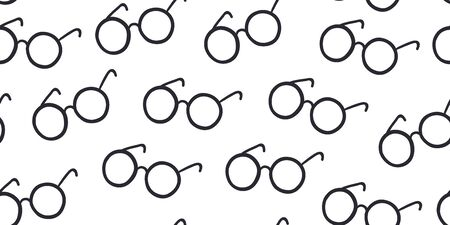 Seamless pattern with round eyeglasses isolated on white background. Book lovers textile design. Hand drawn scandinavian style.