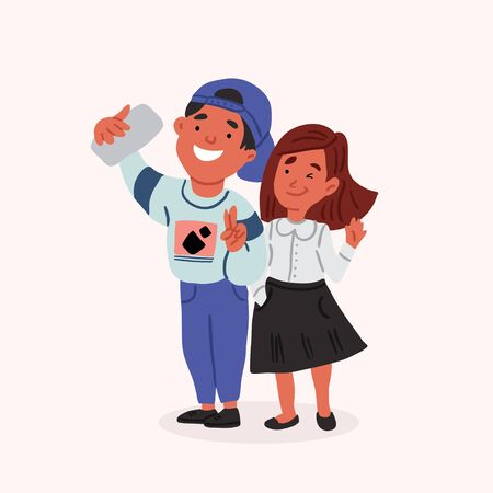 Cute vector illustration of the school boy and girl taking selfie together and smiling. Funny schoolmates, kids with gadgets. Young bloggers at school. Boy and girl using smartphone. Gadget child
