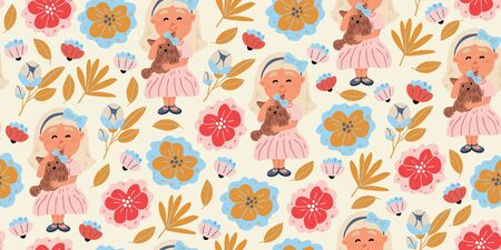 Vector seamless pattern of a girl hugging yorkshire terrier puppy in cartoon hand drawn style with spring flowers on white. Kids pattern design with spring mood. Dog owner with dog, dog walk