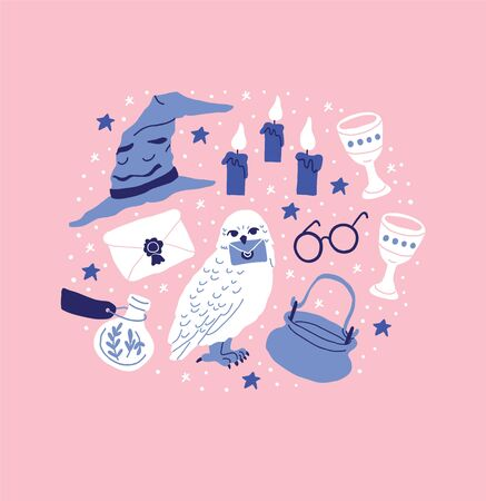 Circle illustration with pots, witch kettles, grails, poison bottles, stars, magic hat, letter, round glasses on pink background. Circle illustration of the wizard accessories