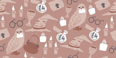 Vector seamless pattern with magician objects - witch hat, candles, goblet, potions bottles, eyeglasses, owl, magic letter, stars on brown. Halloween pattern. Perfect for kids textile, clothing