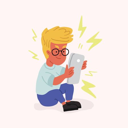 Vector illustration of the boy playing gadget isolated on light background. Cute cartoon illustration of the toddler with the tablet and flash signs. kids with gadgets concept in cartoon style Ilustrace