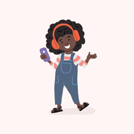 Vector illustration of dark skin girl teenager listening to music in headset holding smartphone in hand. smiling girl with gadget.