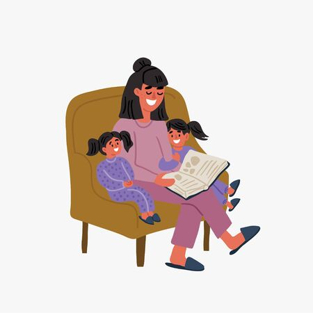 Cute vector illustration of mother and two children reading the book together in the chair. Family time. Nanny reading book to kids. Family illustration in cartoon hand drawn style