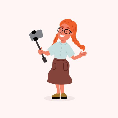 Vector illustration of the cute red hair girl blogger with selfie stick making the video story. Cute teenager smiling. Kid with gadget, smartphone isolated on pink is cartoon doodle style
