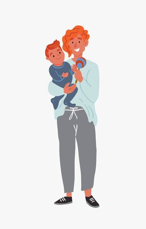 Vector illustration of mother holding a child with beanbag on hands isolated on white in cartoon hand drawn style. Happy family time. Single mother. Little baby with nanny. Red hair