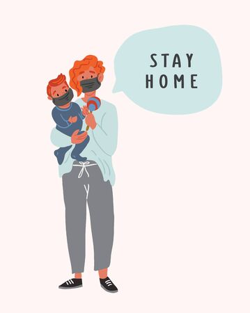 Mother holding a baby on hands wearing breathing face masks with speech bubble. Mother and child in social isolation. Modern covid concept illustration of people social isolation. coronavirus
