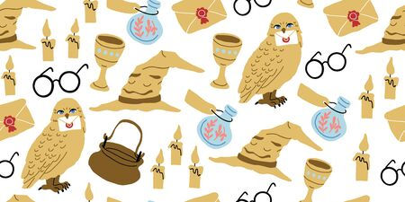 Vector seamless pattern with magician objects - witch hat, candles, goblet, potions bottles, eyeglasses, owl, magic letter, stars on white. Halloween pattern. Perfect for kids textile, clothing