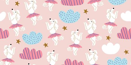 Seamless pattern with cute poodle dogs in cute ballet skirts dancing, clouds, stars on pink. Vector cartoon ballet dance pattern. Kids design, posters, nursery decor, textile
