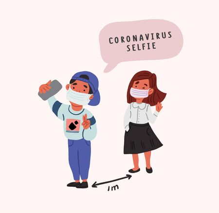 Coronavirus selfie. Two kids wearing face masks and making selfie with gadget on safe distance. Cute coronavirus concept illustration. Friends social isolation. Funny quarantine art.