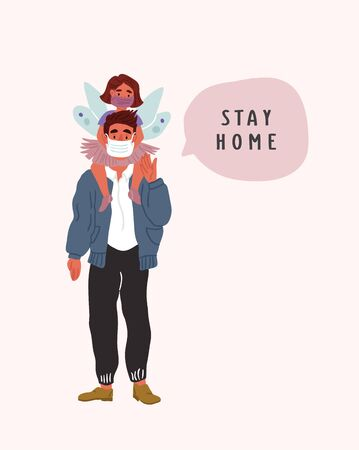 Father holding daughter on shoulders wearing breathing face masks with speech bubble. Father and child in self isolation. Modern covid concept illustration of people social isolation. coronavirus