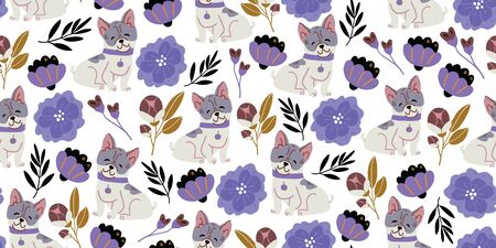 Vector seamless pattern with cute bulldog dogs, spring flowers, herbs on white. Nursery, textile, fabric design for kids, boys, girls. Scandinavian style textile. Dog, puppies illustrations.