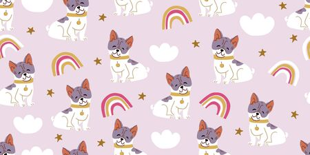 Vector seamless pattern with cute bulldog dogs, clouds, rainbows on pink. Nursery, textile, fabric design for kids, boys, girls. Scandinavian style textile. Dog, puppies illustrations. Ilustrace