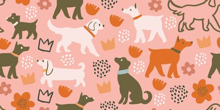 Vector seamless pattern with cute dogs isolated on pink: dachshund, jack russell, terrier, doberman with flowers, crowns, polka dots. Animal pattern, perfect for kids textile, nursery decor, fabric Ilustrace