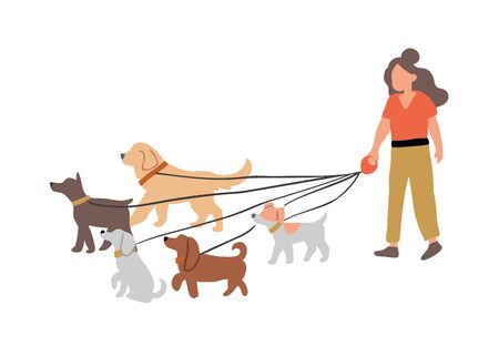 Vector illustration of the woman dog walking with many dogs breeds.  Dog walker concept illustration in cartoon hand drawn style. dogs on the street Ilustrace