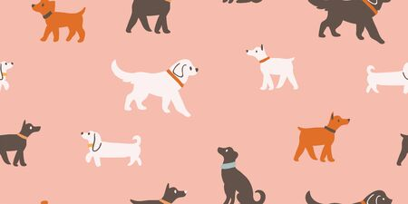 Vector seamless pattern with cute dogs isolated on pink: dachshund, jack russell, terrier, doberman. Animal pattern, perfect for kids textile, nursery decor, fabric Ilustrace