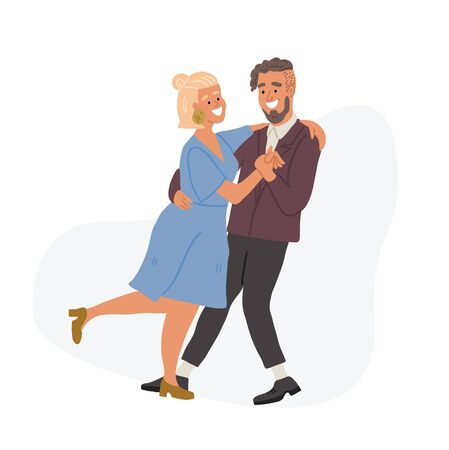 Vector illustration of cute couple dancing tango. Romantic date, cute woman and man smiling, hugging, dancing in cartoon hand drawn style. Valentines day concept illustration Ilustrace