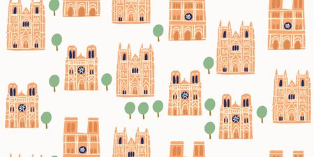 Vector seamless pattern with old eauropean architecture - gothic cathedrals notre dame in France. Pattern with old french churches. Urban sketches with old buildings. Parisian landmarks vector art