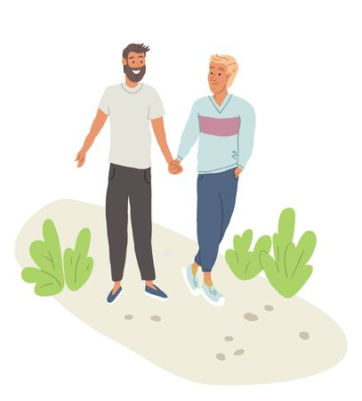 Vector illustration of cute couple of two men holding hands on the walk outside in the part. Lgbt couple in love, gay couple in the park. Modern family concept. Best friends illustrations