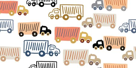 Scandinavian style vector seamless pattern with toy trucks. Transportation pattern with cute cars on white background. Simple kids pattern for boys Ilustrace
