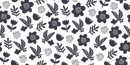Black and white romantic vector seamless pattern with keys, spring flowers, wings and polka dots. Key to my heart pattern design. Minimalistic romantic textile design Ilustrace