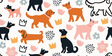 Vector seamless pattern with cute dogs isolated on white: dachshund, jack russell, terrier, doberman with flowers, crowns, polka dots. Animal pattern, perfect for kids textile, nursery decor, fabric