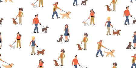 Vector seamless pattern with people dog walking with many dogs breeds.  Dog walker concept illustration in cartoon hand drawn style. dogs on the street seamless pattern design. urban people with pets Ilustrace