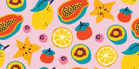 Vector seamless pattern with tropical fruits on pink background : lemon, passion fruit, berry, kiwi, eggplant, lychee, lime, orange. Modern stylish tropical summer pattern, perfect for textile, fabric