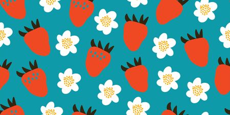 Kids hand drawn summer seamless pattern with strawberries and white flowers. Summer background. Vector illustration. Print for babys design. Scandinavian style on blue