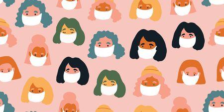 Seamless pattern with people faces wearing cute breathing face masks. Breathing face masks. Modern covid-19 seamless pattern of people social isolation. coronavirus Ilustrace