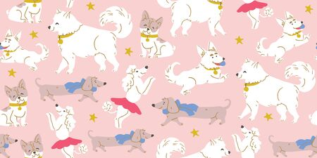 Vector seamless pattern with cute dogs isolated on pink: poodle, bulldog, dachshund, corgi, samoyed with stars. Animal pattern, perfect for kids textile, nursery decor, fabric