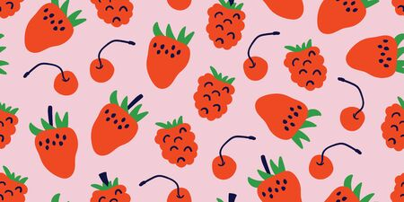 Kids hand drawn summer seamless pattern with strawberries, cherries on pink background. Summer background for kids clothing, textile. Vector illustration. Print for baby design. Scandinavian style Ilustrace