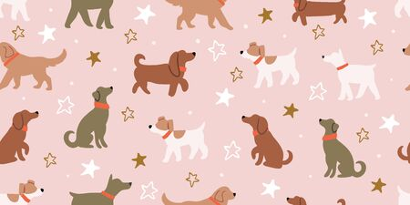 Vector seamless pattern with cute dogs isolated on pink with stars. Animal pattern, perfect for kids textile, nursery decor, fabric