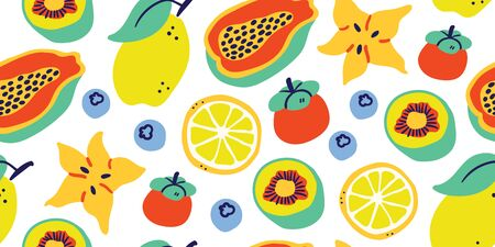 Vector seamless pattern with tropical fruits on white background: lemon, passion fruit, berry, kiwi, eggplant, lichee, lime, orange. Modern stylish tropical summer pattern, perfect for textile, fabric