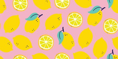 Vector stylish lemons fruits seamless pattern in hand drawn scandinavian style on pink background. Summer design. Stylish kitchen citruses. Juicy citrus summer pattern