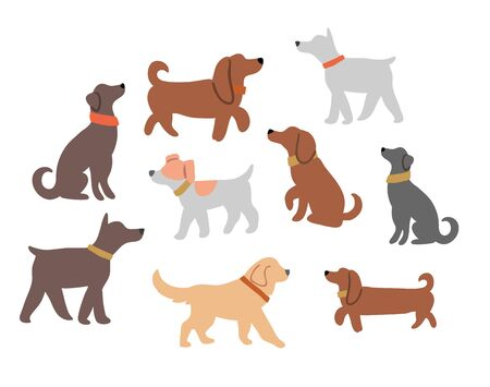 Vector illustration with cute dogs silhouettes isolated on white: jack russel, bulldog, dachshund, retriever, labrador. Horizontal postcard design, perfect for kids textile, nursery decor, fabric
